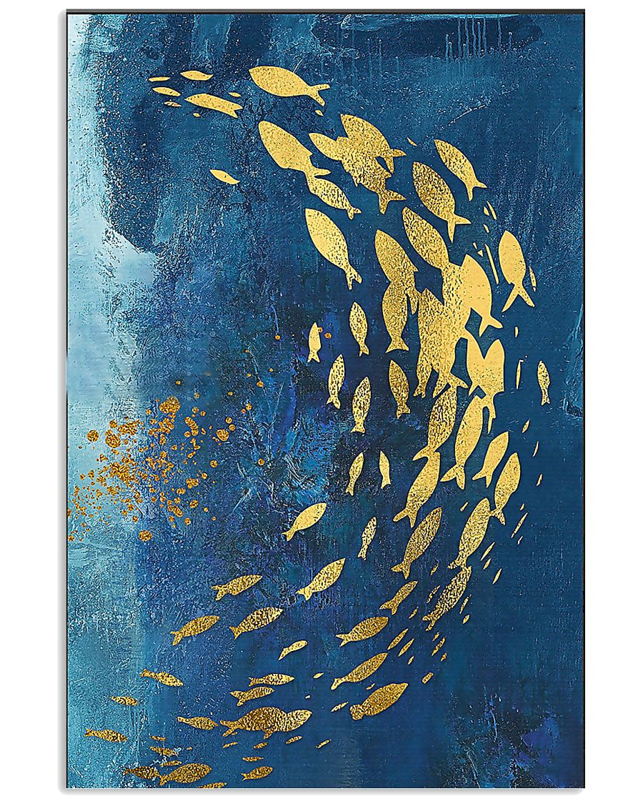 GOLD FISHES OCEAN SEA NAVY BLUE - CANVAS 11x17 Poster