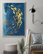 GOLD FISHES OCEAN SEA NAVY BLUE - CANVAS 11x17 Poster lifestyle-poster-1