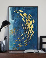 GOLD FISHES OCEAN SEA NAVY BLUE - CANVAS 11x17 Poster lifestyle-poster-2