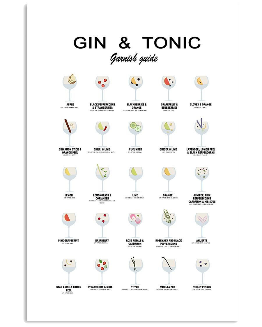 GIN AND TONIC -  GARNISH GUIDE 16x24 Poster