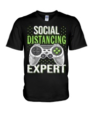 Social distancing expert  V-Neck T-Shirt tile