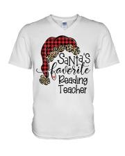 Reading Teacher V-Neck T-Shirt tile