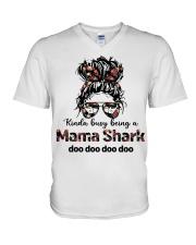 mama shark V-Neck T-Shirt tile