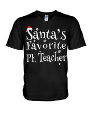 Santa's favorite PE Teacher V-Neck T-Shirt thumbnail