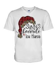 Santa's favorite Icu Nurse V-Neck T-Shirt tile