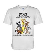 Dogs make me happy V-Neck T-Shirt thumbnail