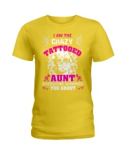 The crazy aunt loves tattoos Ladies T-Shirt front