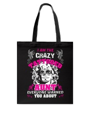 The crazy aunt loves tattoos Tote Bag thumbnail