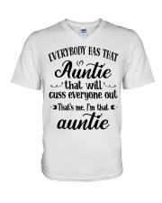 Auntie who cuss a lot V-Neck T-Shirt thumbnail