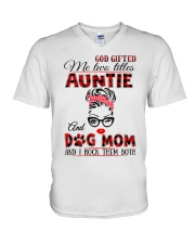 Auntie and Dog Mom V-Neck T-Shirt tile