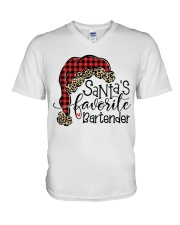 Santa's favorite Bartender V-Neck T-Shirt tile