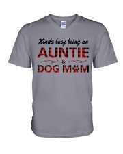 Kinda busy being an Auntie and Dog Mom V-Neck T-Shirt thumbnail