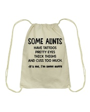 Aunt tattoos pretty eyes thick thigh cuss too much Drawstring Bag tile