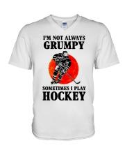 Grumpy Hockey V-Neck T-Shirt thumbnail