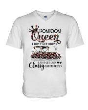 pontoon queen V-Neck T-Shirt tile