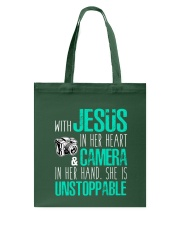 Jesus in her heart and Camera in her hand Tote Bag thumbnail