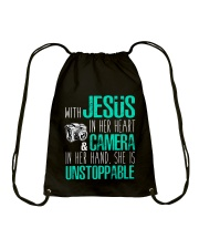 Jesus in her heart and Camera in her hand Drawstring Bag thumbnail