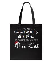 Illinois Girl on nice list Tote Bag thumbnail