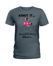 Life would be boring without crazy Flamingo shirt Ladies T-Shirt tile