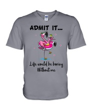 Life would be boring without crazy Flamingo shirt V-Neck T-Shirt tile