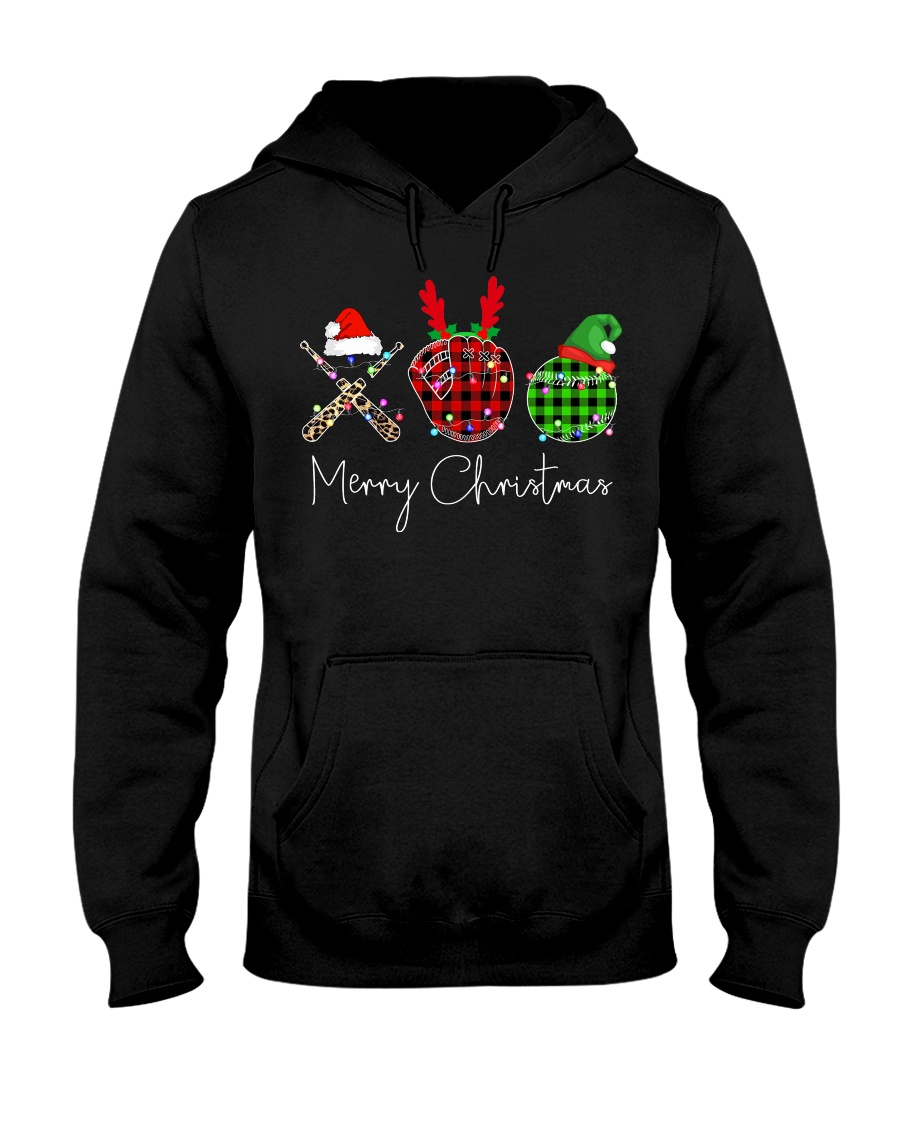 Merry Christmas Baseball Hooded Sweatshirt