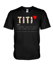 Titi aunt auntie aunty like mom but cooler V-Neck T-Shirt thumbnail