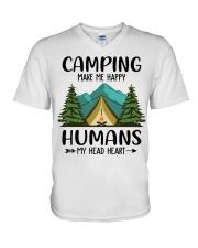 Camping make me happy V-Neck T-Shirt tile