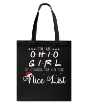 Ohio girl on nice list Tote Bag thumbnail