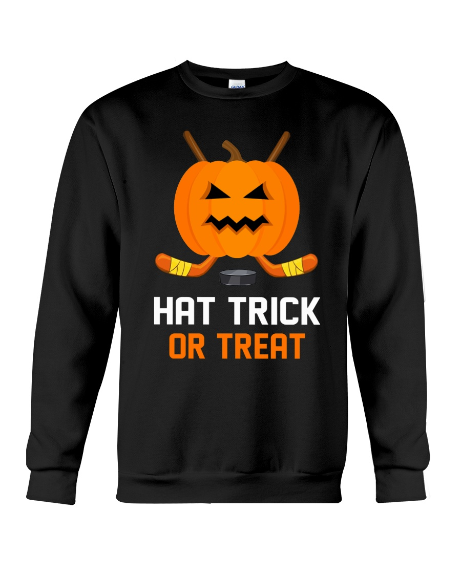 Hockey Hat Trick or Treat Crewneck Sweatshirt