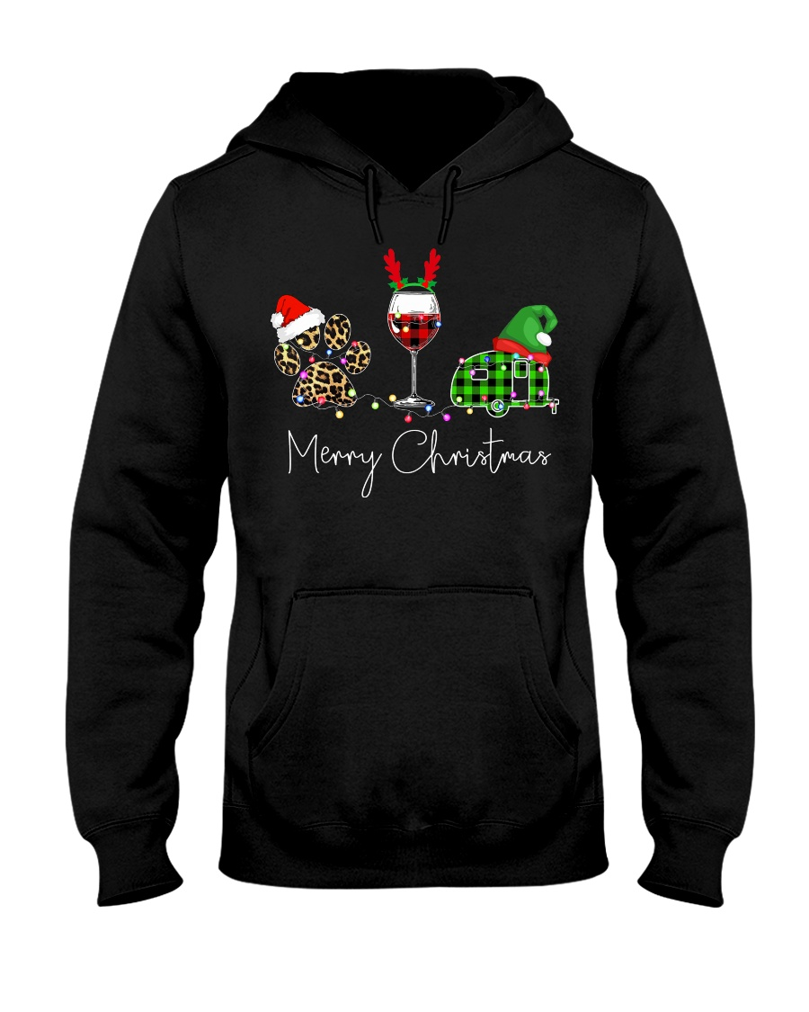 Merry Christmas Wine Dog and Camping Hooded Sweatshirt
