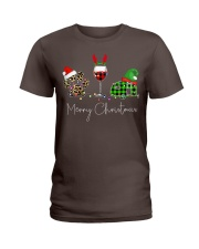 Merry Christmas Wine Dog and Camping Ladies T-Shirt thumbnail