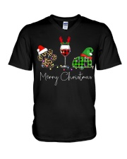 Merry Christmas Wine Dog and Camping V-Neck T-Shirt thumbnail