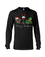 Merry Christmas Wine Dog and Camping Long Sleeve Tee thumbnail
