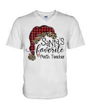 Santa's favorite Math Teacher V-Neck T-Shirt tile