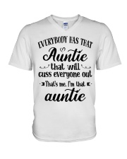 Auntie who cuss a lot V-Neck T-Shirt thumbnail