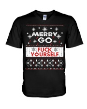 MERRY GO FUCK YOURSELF V-Neck T-Shirt thumbnail