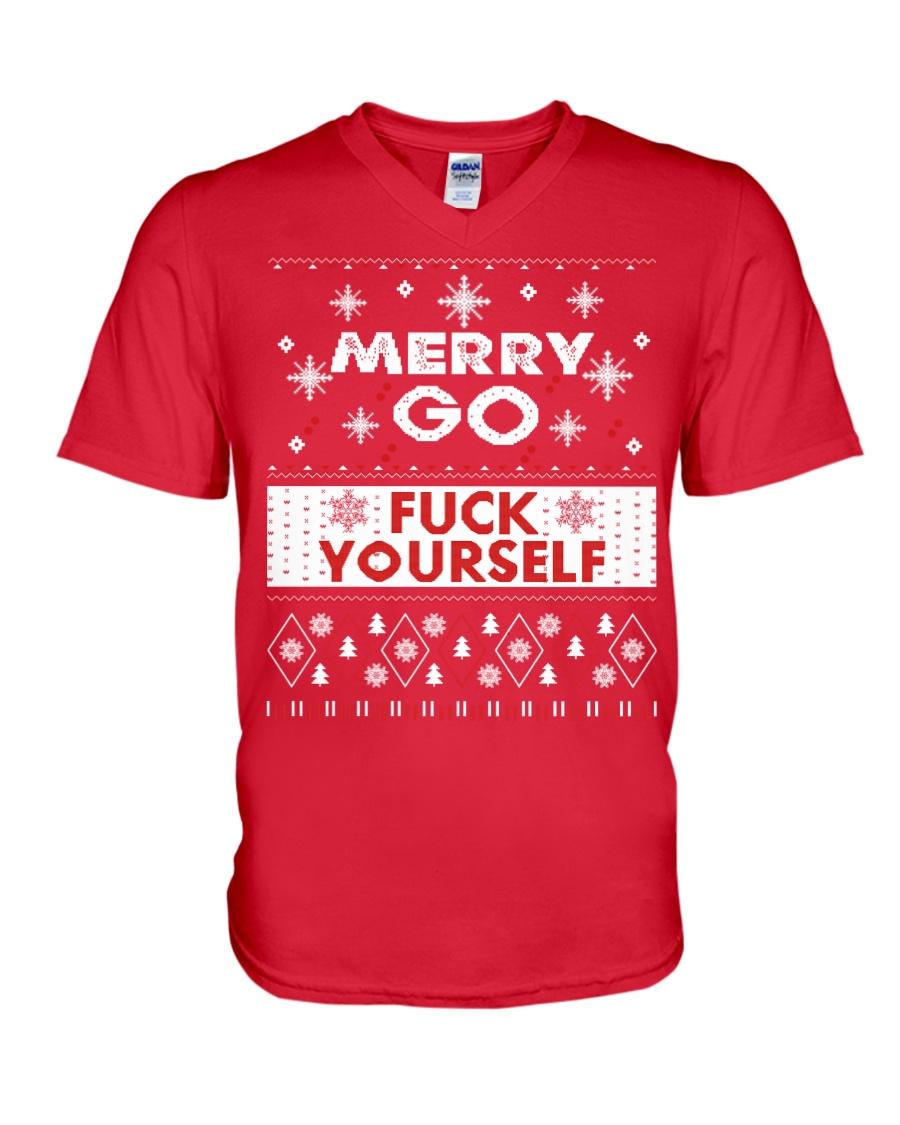 MERRY GO FUCK YOURSELF V-Neck T-Shirt