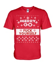 MERRY GO FUCK YOURSELF V-Neck T-Shirt front