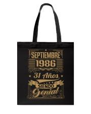 Septiembre 1986 Tote Bag thumbnail