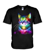 3D Lighting Cat V-Neck T-Shirt thumbnail