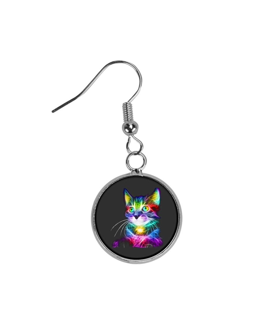 3D Lighting Cat Circle Earrings