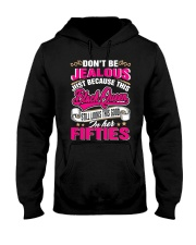 NOT JEALOUS BLACK QUEEN IN FIFTIES Hooded Sweatshirt tile