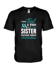 I Wear Teal And White For My Sister Cervical Shirt V-Neck T-Shirt thumbnail