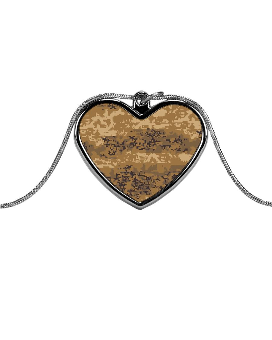 Austrian Jagdkommando pixeltarnung desert camo Metallic Heart Necklace
