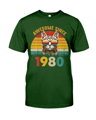 40th Birthday Vintage Cat Gift  - Awesome Since19