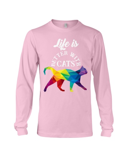 Cat T-shirt Life Is Better With Cats Colorful