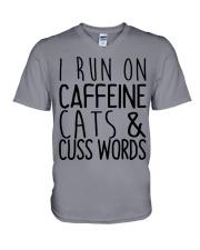 i run on cats V-Neck T-Shirt thumbnail