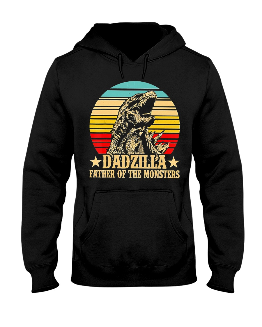 Dadzilla Father Of The Monsters Retro Vintage Hooded Sweatshirt