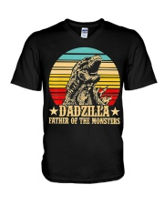 Dadzilla Father Of The Monsters Retro Vintage V-Neck T-Shirt thumbnail