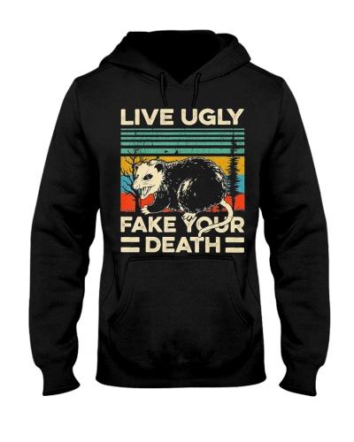 Live Ugly Fake Your Death Retro Vintage Opossum